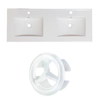 Xena Ceramic 59 Double Bathroom Vanity Top Faucet Mount: Single, Overflow Cap Color: White