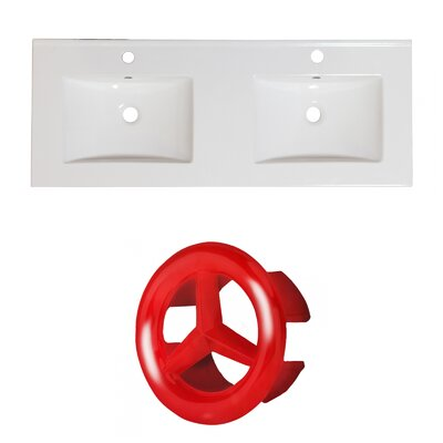 Xena Ceramic 59 Double Bathroom Vanity Top Faucet Mount: Single, Overflow Cap Color: Red