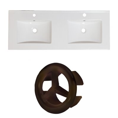 Xena Ceramic 59 Double Bathroom Vanity Top Faucet Mount: Single, Overflow Cap Color: Oil Rubbed Bronze