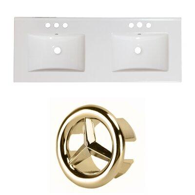 Ceramic 59 Double Bathroom Vanity Top Faucet Mount: 8 Centers