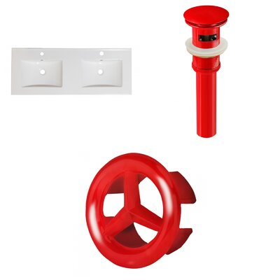 Xena Ceramic 48 Double Bathroom Vanity Top Faucet Mount: Single, Drain Color: Red