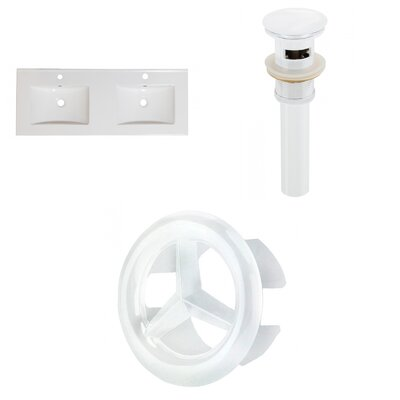 Xena Ceramic 59 Double Bathroom Vanity Top Faucet Mount: Single, Drain Color: White
