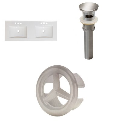 Xena Ceramic 48 Double Bathroom Vanity Top Faucet Mount: 8 Centers, Drain Color: Brushed Nickel