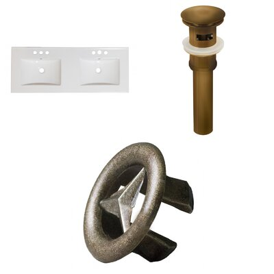 Xena Ceramic 48 Double Bathroom Vanity Top Drain Color: Antique Brass