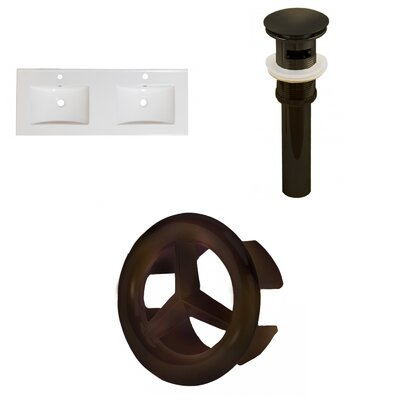 Ceramic 59 Double Bathroom Vanity Top Faucet Mount: Single