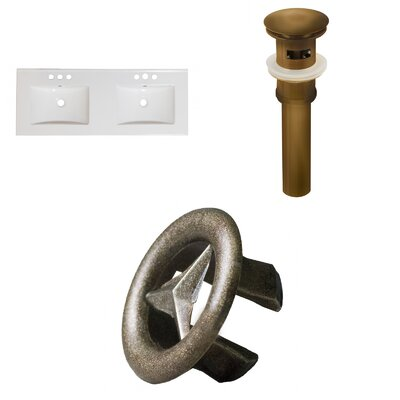 Xena Ceramic 48 Double Bathroom Vanity Top Faucet Mount: 4 Centers, Drain Color: Antique Brass