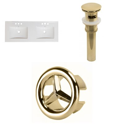 Xena Ceramic 48 Double Bathroom Vanity Top Faucet Mount: 4 Centers, Drain Color: Gold