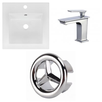 Ceramic Square Drop-In Bathroom Sink with Faucet and Overflow