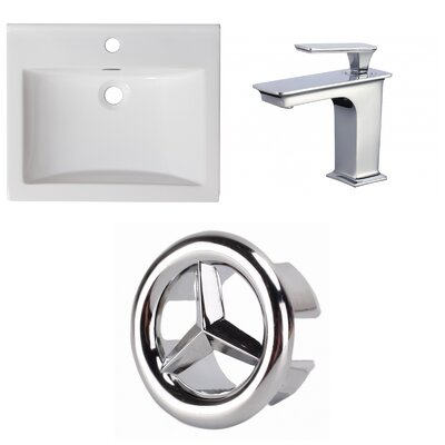 1 Hole Ceramic Rectangular Undermount Bathroom Sink with Faucet and Overflow