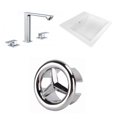 3 Hole Ceramic Rectangular Drop-In Bathroom Sink with Faucet