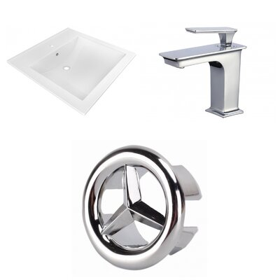 Ceramic 22 Single Bathroom Vanity Top and Overflow Cap