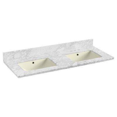 Shaker Quartz 48 Single Bathroom Vanity Top with Backsplash Top Finish: Biscuit, Faucet Mount: 4 Centers