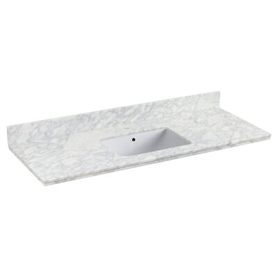 Shaker Quartz 48 Single Bathroom Vanity Top with Backsplash Top Finish: White, Faucet Mount: Single