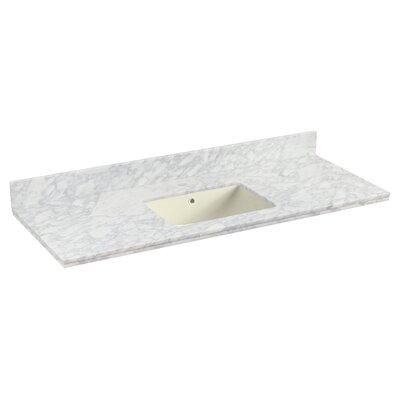 Shaker Quartz 48 Single Bathroom Vanity Top with Backsplash Top Finish: Biscuit, Faucet Mount: Single