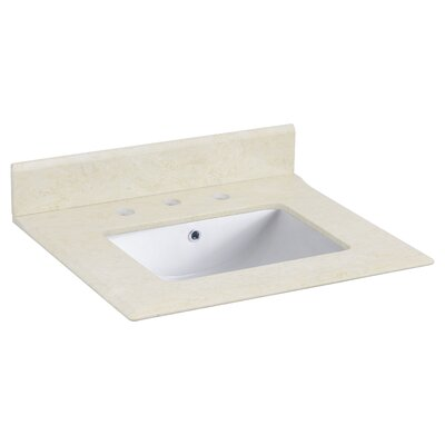 24 Single Bathroom Vanity Top with Backsplash Top Finish: White