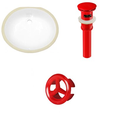 CSA Ceramic Oval Undermount Bathroom Sink with Overflow Drain Finish: Red