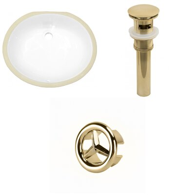CUPC Ceramic Oval Undermount Bathroom Sink with Overflow Drain Finish: Gold