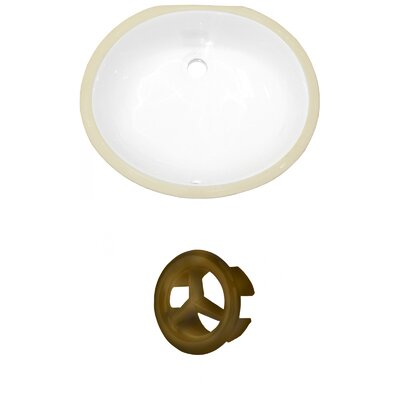 CUPC Ceramic Oval Undermount Bathroom Sink with Overflow Overflow Cap Color: Antique Brass