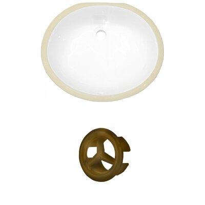 CSA Ceramic Oval Undermount Bathroom Sink with Overflow Drain Finish: Antique Brass