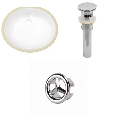 CUPC Ceramic Oval Undermount Bathroom Sink with Overflow Drain Finish: Chrome