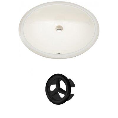 CUPC Ceramic Oval Undermount Bathroom Sink with Overflow Drain Finish: Black