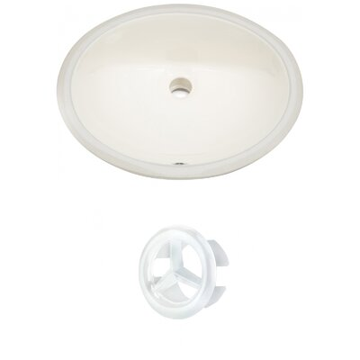 CUPC Ceramic Oval Undermount Bathroom Sink with Overflow Drain Finish: White