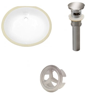 CSA Ceramic Oval Undermount Bathroom Sink with Overflow Drain Finish: Brushed Nickel