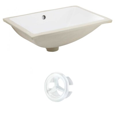CSA Ceramic Rectangular Undermount Bathroom Sink with Overflow Drain Finish: White