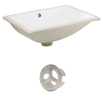 CSA Ceramic Rectangular Undermount Bathroom Sink with Overflow Drain Finish: Brushed Nickel