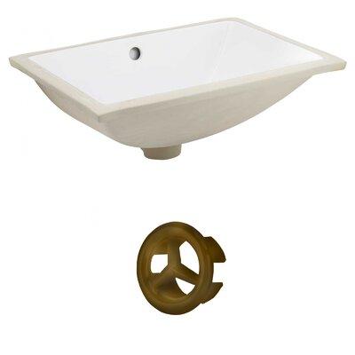 CSA Ceramic Rectangular Undermount Bathroom Sink with Overflow Drain Finish: Antique Brass