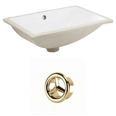 CSA Ceramic Rectangular Undermount Bathroom Sink with Overflow Drain Finish: Gold