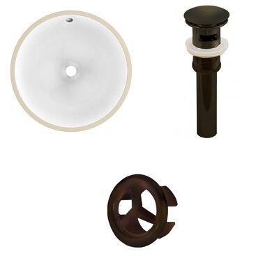 Ceramic Circular Undermount Bathroom Sink with Overflow Drain Finish: Black