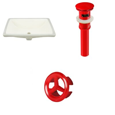 CSA Ceramic Rectangular Undermount Bathroom Sink with Overflow Drain Finish: Red