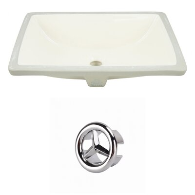 CUPC Ceramic Rectangular Undermount Bathroom Sink with Overflow Drain Finish: Chrome