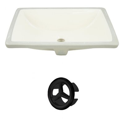CUPC Ceramic Rectangular Undermount Bathroom Sink with Overflow Drain Finish: Black