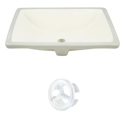 CUPC Ceramic Rectangular Undermount Bathroom Sink with Overflow Drain Finish: White