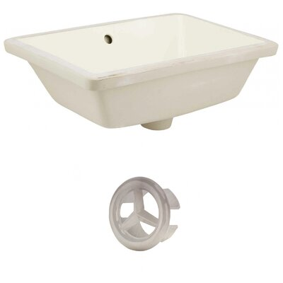 Ceramic Rectangular Undermount Bathroom Sink with Overflow Drain Finish: Brushed Nickel, Sink Finish: Biscuit