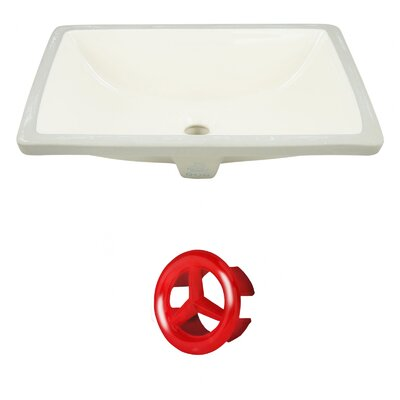 CUPC Ceramic Rectangular Undermount Bathroom Sink with Overflow Drain Finish: Red
