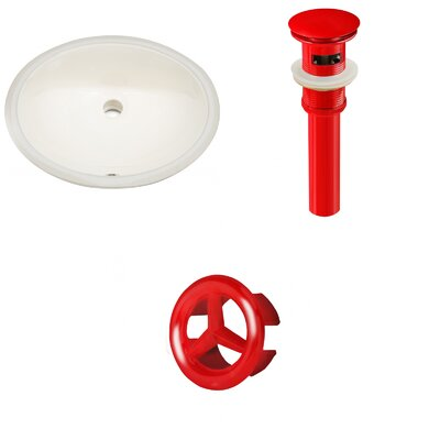 Ceramic Oval Undermount Bathroom Sink with Overflow Drain Finish: Red