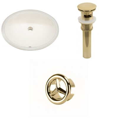 Ceramic Oval Undermount Bathroom Sink with Overflow Drain Finish: Gold
