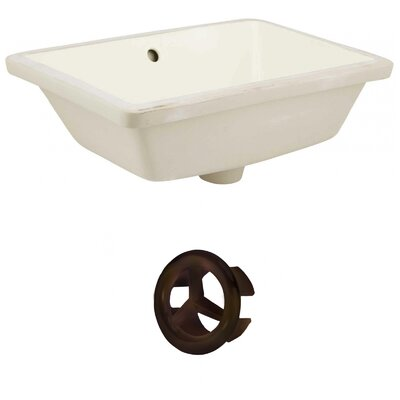 Ceramic Rectangular Undermount Bathroom Sink with Overflow Drain Finish: Oil Rubbed Bronze, Sink Finish: Biscuit