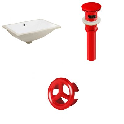CSA Ceramic Rectangular Undermount Bathroom Sink with Overflow Drain Finish: Red
