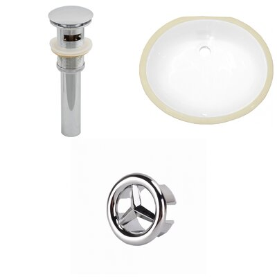 Ceramic Oval Undermount Bathroom Sink with Overflow Drain Finish: Chrome