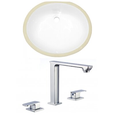 Ceramic Oval Undermount Bathroom Sink with Faucet and Overflow
