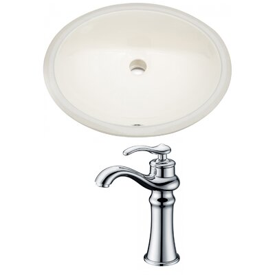 CUPC Ceramic Oval Undermount Bathroom Sink with Faucet and Overflow Sink Finish: Biscuit