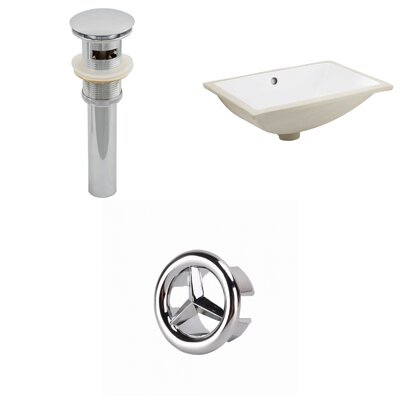 CSA Ceramic Rectangular Undermount Bathroom Sink with Overflow Drain Finish: Chrome