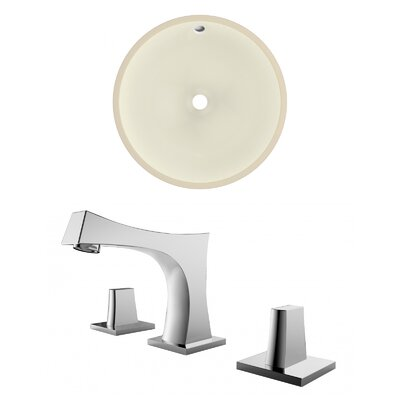 Ceramic Circular Undermount Bathroom Sink with Faucet and Overflow Sink Finish: Biscuit, Size: 15.50 H x 15.50 W x 7.5 D, Certification: CUPC