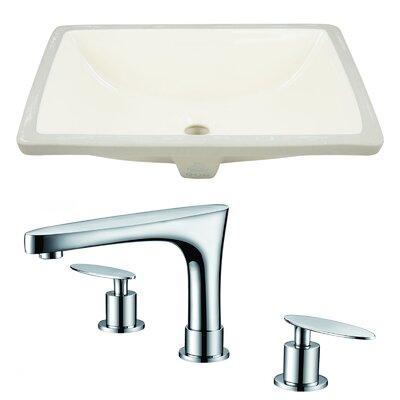 Ceramic Undermount Bathroom Sink with Faucet and Overflow