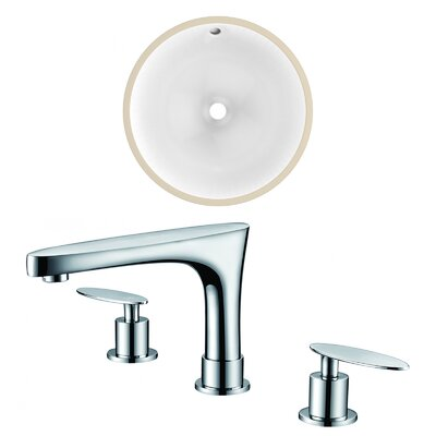 Ceramic Circular Undermount Bathroom Sink with Faucet and Overflow Sink Finish: White, Size: 15.25 H x 15.25 W x 7.5 D, Certification: No Certification