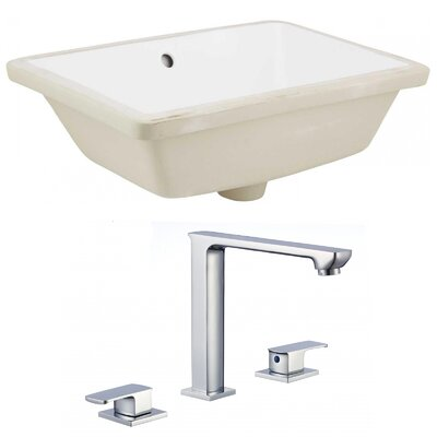 Ceramic Rectangular Undermount Bathroom Sink with Faucet and Overflow Sink Finish: White